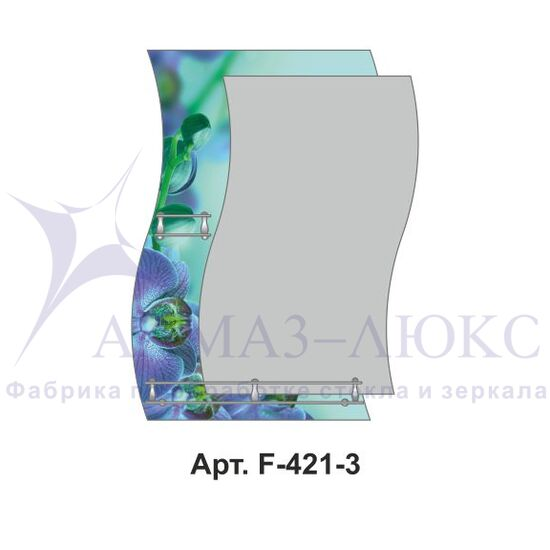 """Зеркало с полкой F-421-3 """"Орхидеи в бирюзе"""""""