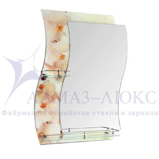"""Зеркало с полкой F-421-2 """"Бежевые орхидеи"""""""