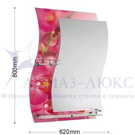 """Зеркало с полкой F-421-4 """"Розовые орхидеи"""""""