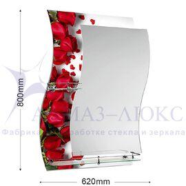 """Зеркало с полкой F-421-6 """"Бутоны красных роз"""""""
