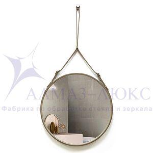 Зеркало круглое в кожаной раме К-03-2