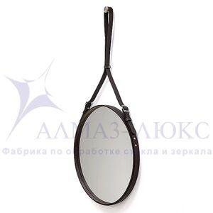 Зеркало круглое в кожаной раме К-03-1