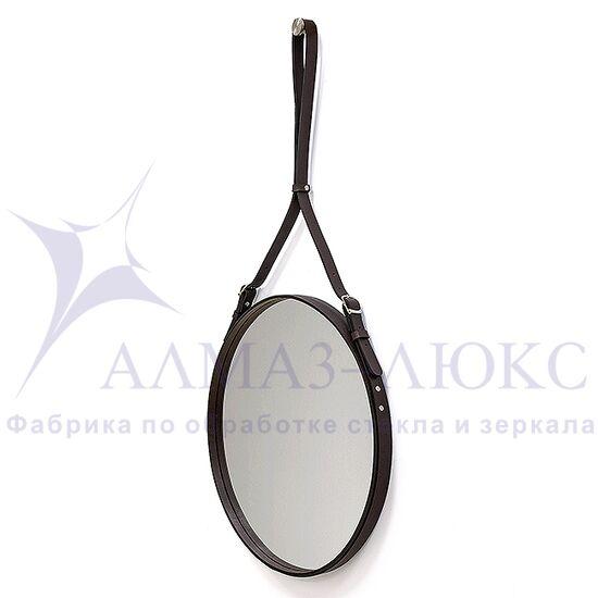 Зеркало круглое в кожаной раме К-03-1  в Минске и Беларуси
